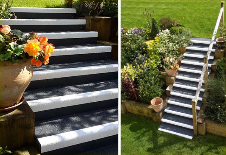antislip  frp staircase tread cover แผงครอบบันไดจมูกขอบมุมคิ้วกันลื่นปิดผิวปูพื้นเทปตีเส้นเรืองแสง