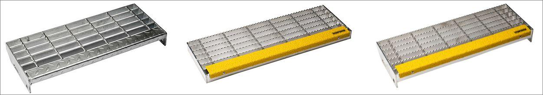 เกรตติ้งชานพักขั้นทางเดินข้างราวบันไดตะแกรงเหล็กฉีก Step Ladder Steel Grating