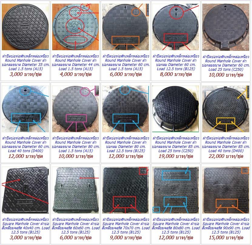 CastDuctile Iron Manhole Covers Frames เกรตติ้งฝาปิดบ่อท่อพักเหล็กหล่อเหนียวตะแกรงระบายน้ำ