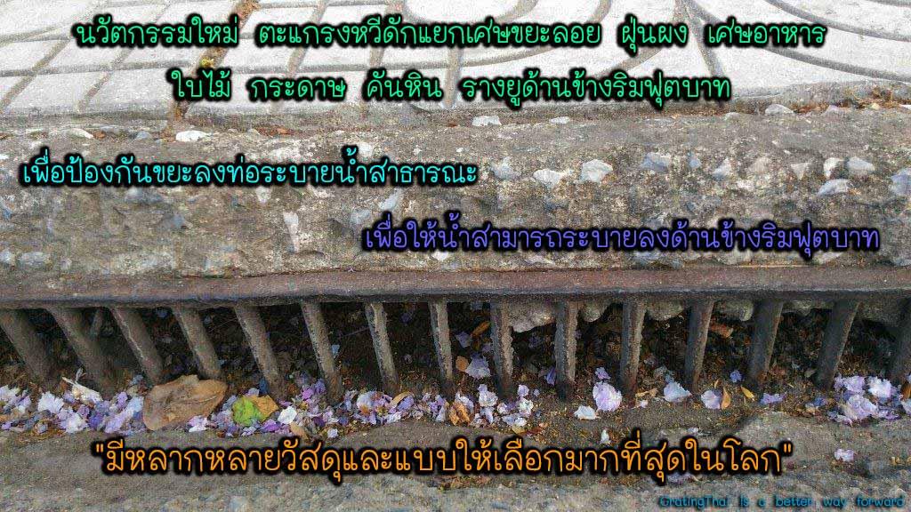 ตะแกรงดักแยกขยะคันหินข้างริมฟุตบาท curbed drain grates