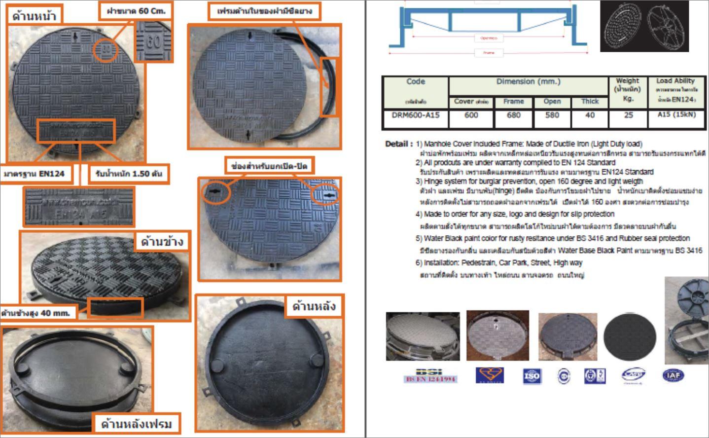 แมนโฮลฝาปิดบ่อครอบท่อพักระบายน้ำตะแกรงเกรตติ้ง Grating Manhole Cover
