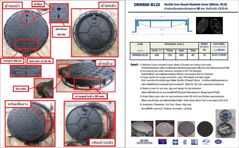 Manhole Grating Cover ฝาปิดบ่อครอบท่อเกรตติ้งตะแกรงระบายน้ำ
