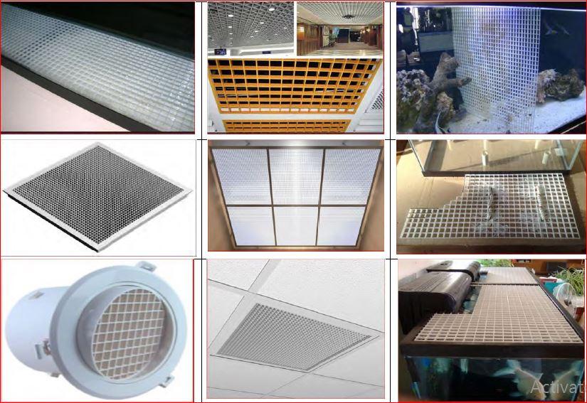ตะแกรงกั้นช่องแสงบังไฟ กรองลม ระบายอากาศ  แผงระแนงบังตาหน้ากากอาคาร EggCrateScreen