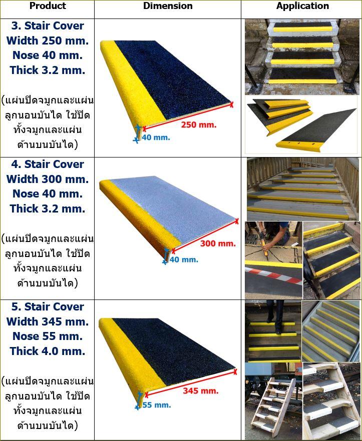ทดแทนแผ่นเทปกันลื่นปิดทั้งจมูกและแผ่นด้านบนบันได Stair Tread Nosing Cover Anti-Slippery tape