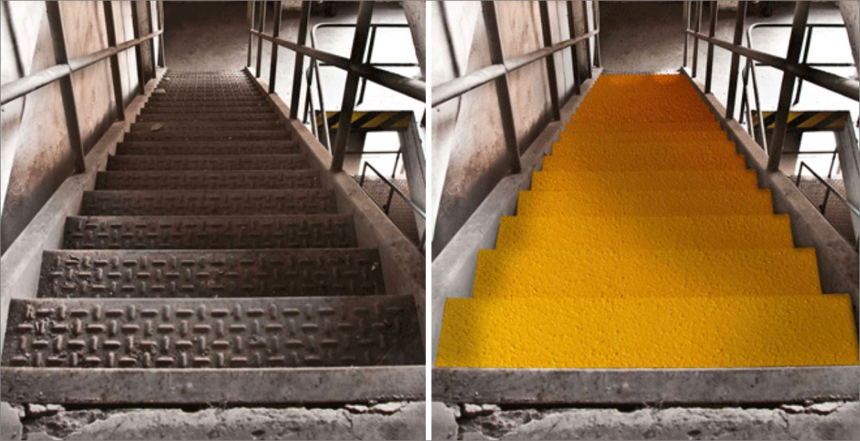 Non-Slip Tape Stair Tread Nosing Step Cover แผ่นปิดผิวเทปกันลื่นกั้นเขตตีเส้นสะท้อนแสงปิดจมูกขอบมุมคิ้วแผงครอบบันได