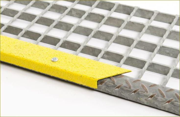 สีอีพ๊อกซี่กันลื่น  Non-Slip Epoxy abrasive nosing  แผ่นปูพื้นกันลื่นปิดจมูกขอบมุมคิ้วแผงครอบบันไดเหล็ก