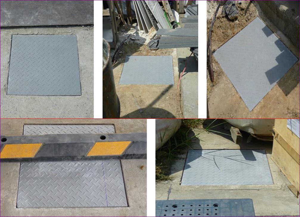FRP Fiberglass ตะแกรงเกรตติ้งฝาทึบปิดบ่อครอบท่อพักระบบำบัดน้ำเสีย  checkered plate Manhole Cover
