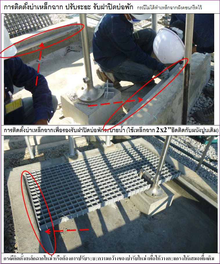 FRP Fiberglass checkered plate Manhole Cover Grating ตะแกรงเกรตติ้งฝาทึบปิดบ่อครอบท่อพักระบบำบัดน้ำเสีย