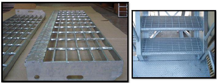 StairCaseStep Ladder Steel Grating ตะแกรงขั้นบันไดเหล็กแผ่นเชื่อมชุบกันสนิมระบายน้ำ