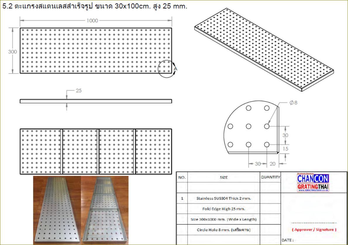 ฝาปิดบ่อครอบท่อพักตะแกรงเหล็กเกรตติ้งระบายน้ำ Serrated Non-slip Heel Guard Stainless Aluminium Grating