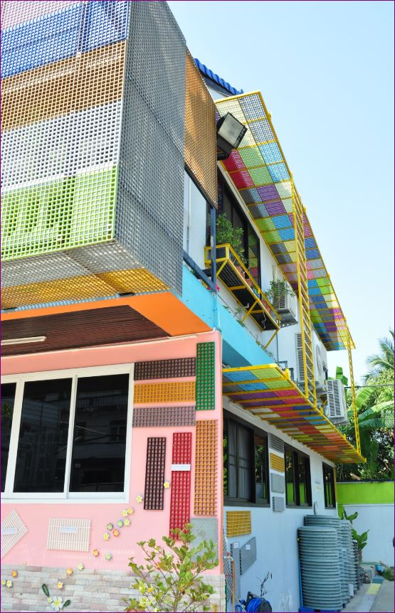 facadecladding aluminium composite หน้ากากอาคารตึก ตะแกรงไฟเบอร์กล๊าส