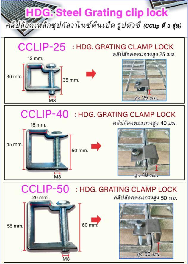 saddleclampcliplock Fixing grating อุปกรณ์ตัวคลิปล็อคยึดจับแผ่นตะแกรงเหล็ก