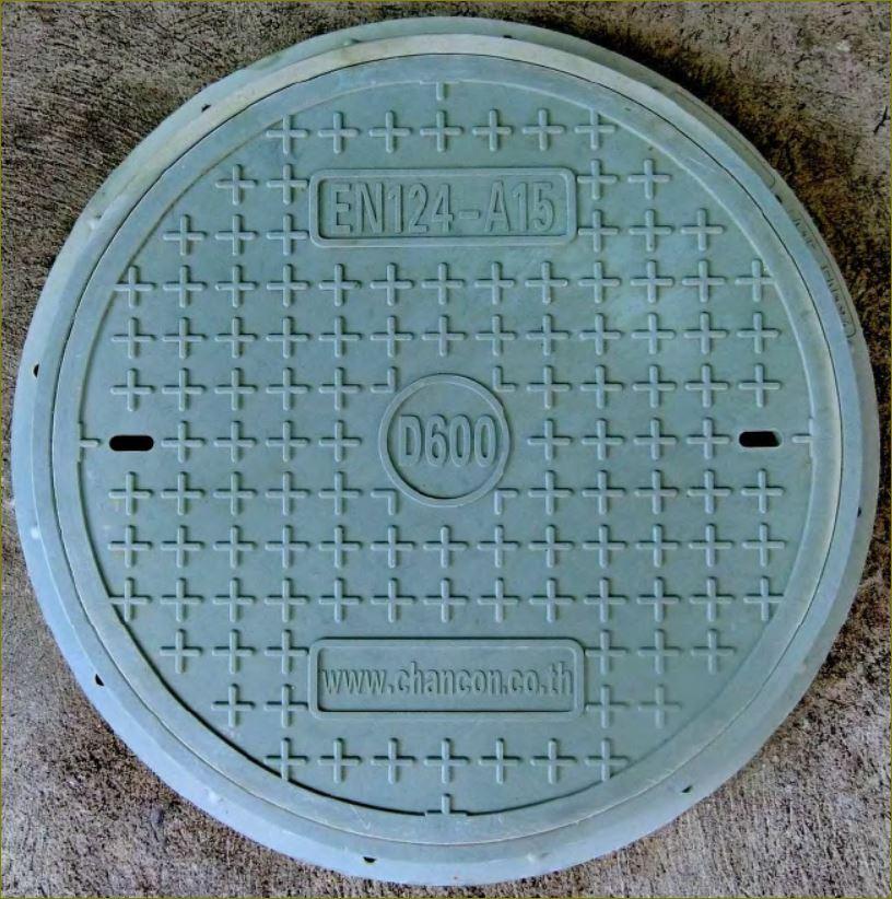 ตะแกรงระบายน้ำเหล็กฝาปิดบ่อท่อพักไฟเบอร์กล๊าส FRP Composite Fiberglass manhole cover
