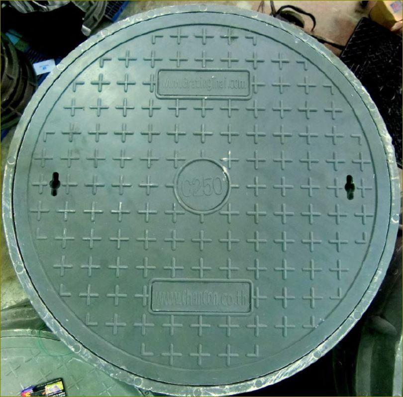 ฝาปิดบ่อท่อพักเหล็กหล่อไฟเบอร์กล๊าส FRPComposite Fiberglass manhole cover grating