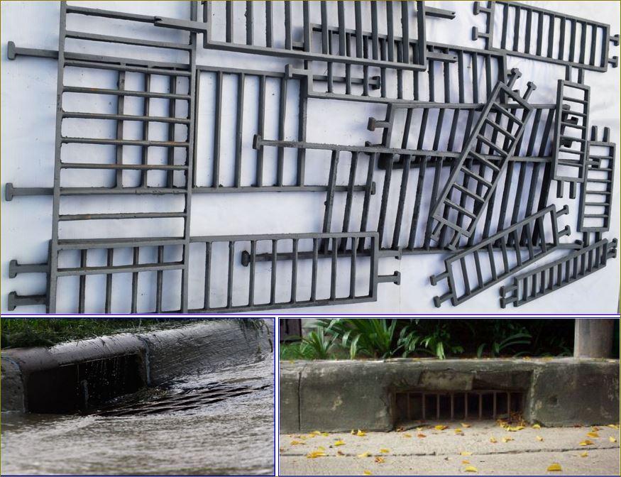 Curbed Drainage  Scupper Grating  ตะแกรงดักขยะฝุ่นผงคันหินใบไม้ด้านข้างฟุตบาทคสล
