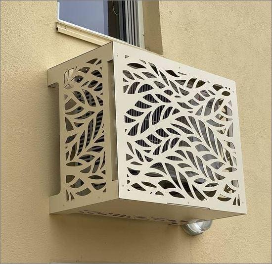 Air compressor Outdoor decorative grill Screen cover CNC แผ่นเหล็กฉลุลายเลเซอร์ตกแต่ง  แผ่นปิดตู้คอมเพรสเซอร์แอร์ด้านนอกอาคาร