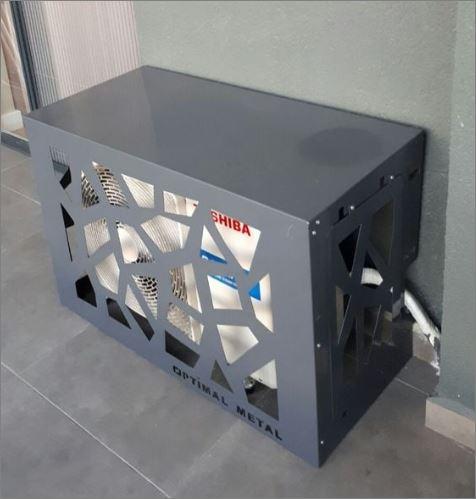 Air compressor Outdoor decorative  Screen cover CNC แผ่นเหล็กฉลุลายเลเซอร์ตกแต่ง  แผ่นปิดตู้คอมเพรสเซอร์แอร์ด้านนอกอาคาร