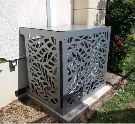 Outdoor Air compressor decorative grill Screen cover CNC แผ่นเหล็กฉลุลายเลเซอร์ตกแต่ง  แผ่นปิดตู้คอมเพรสเซอร์แอร์ด้านนอกอาคาร