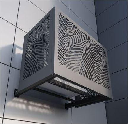 Outdoor decorative Air compressor Screen cover CNC แผ่นเหล็กฉลุลายเลเซอร์ตกแต่ง  แผ่นปิดตู้คอมเพรสเซอร์แอร์ด้านนอกอาคาร