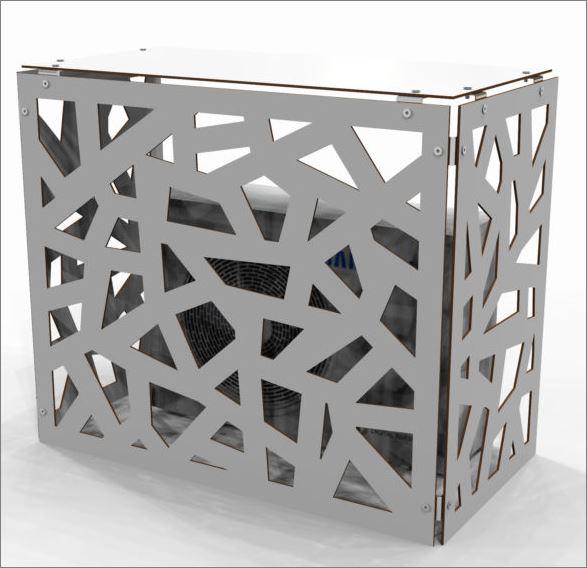 Air compressor CNC Outdoor decorative  Screen cover  แผ่นเหล็กฉลุลายเลเซอร์ตกแต่ง  แผ่นปิดตู้คอมเพรสเซอร์แอร์ด้านนอกอาคาร
