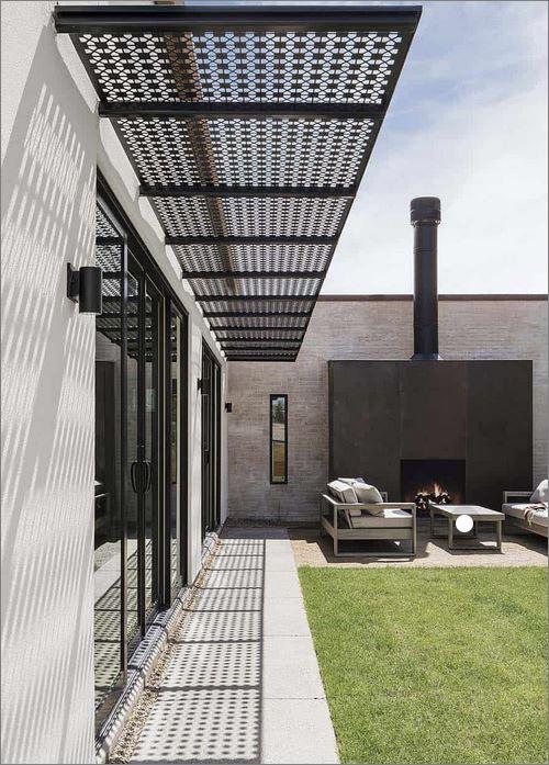 CEILING Roof Pergola Battens Lattice Design Laser Cutting Metal Sheet Panel  แผ่นเหล็กฉลุลายเลเซอร์  ตกแต่งฝ้าเพดานกันสาด ระแนงบังแดด
