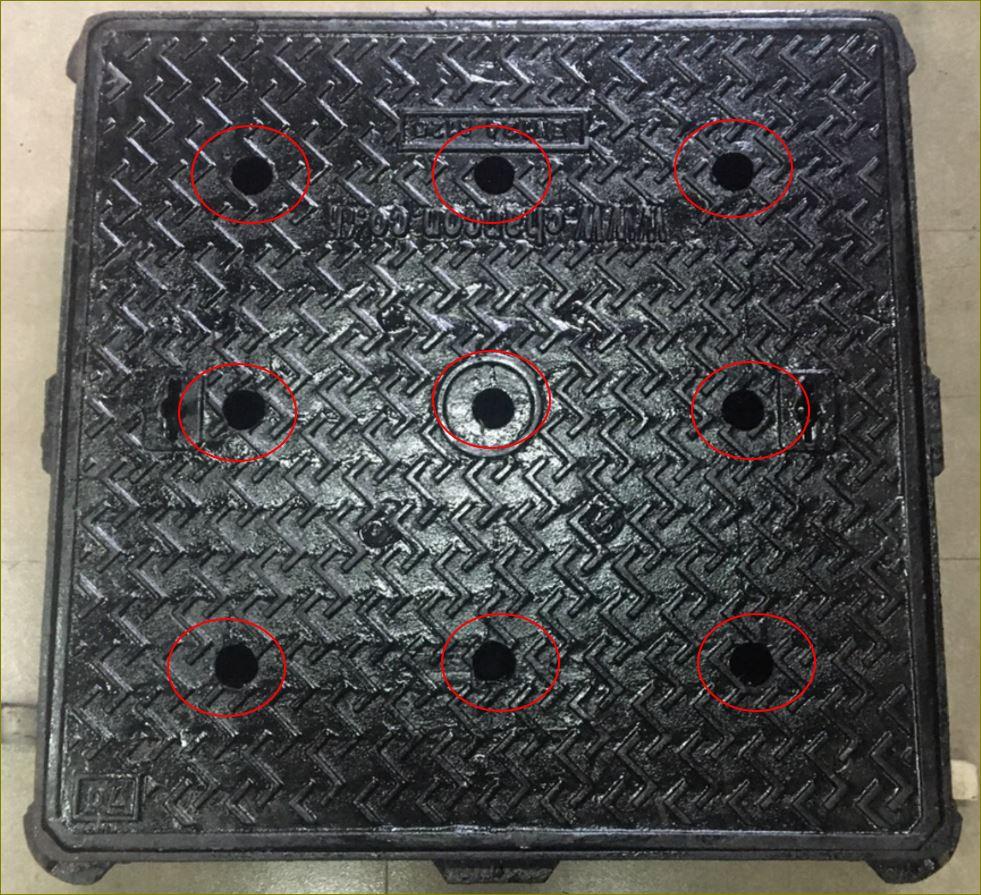 เกรตติ้งตะแกรงฝาปิดบ่อท่อพักไฟเบอร์กล๊าส iron Manhole cover
