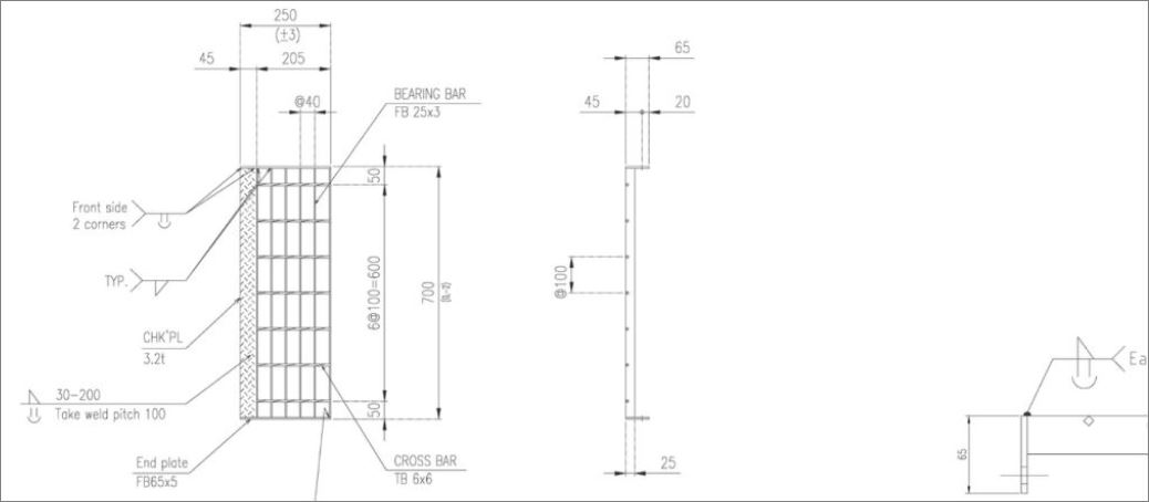 ตะแกรงขั้นบันไดเหล็ก   Stair Tread Steel Grating