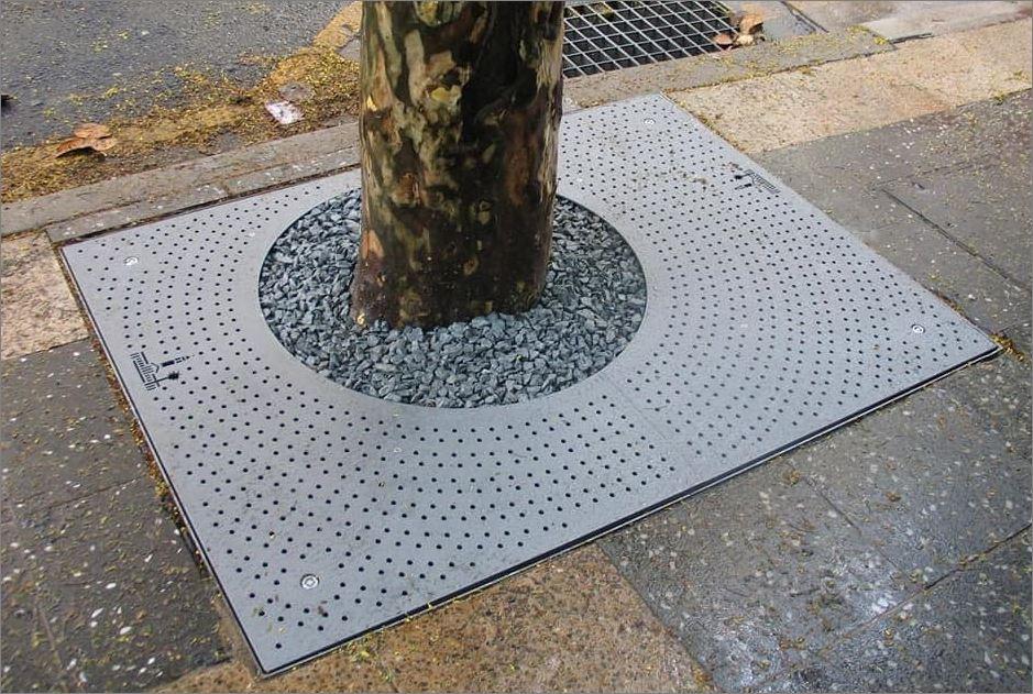 กรอบตะแกรงปกป้องรอบโคนต้นไม้ Tree Guard Grating  Frame Cover Laser Cutting Metal Sheet Panel