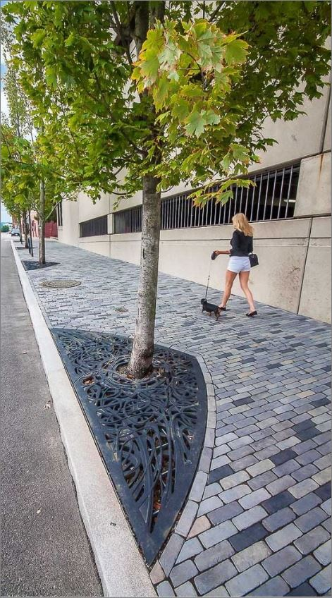 กรอบตะแกรงปกป้องรอบโคนต้นไม้ Tree Guard Grating Paver Frame Cover Laser Cutting Metal Sheet Panel