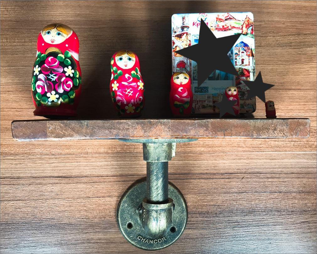 เฟอร์นิเจอร์ชั้นวางท่อเหล็กติดผนังโบราณย้อนยุค ฮุกเกี่ยวของติดผนังตกแต่งบ้าน  DecorationWallShelfDIYBracketPipe