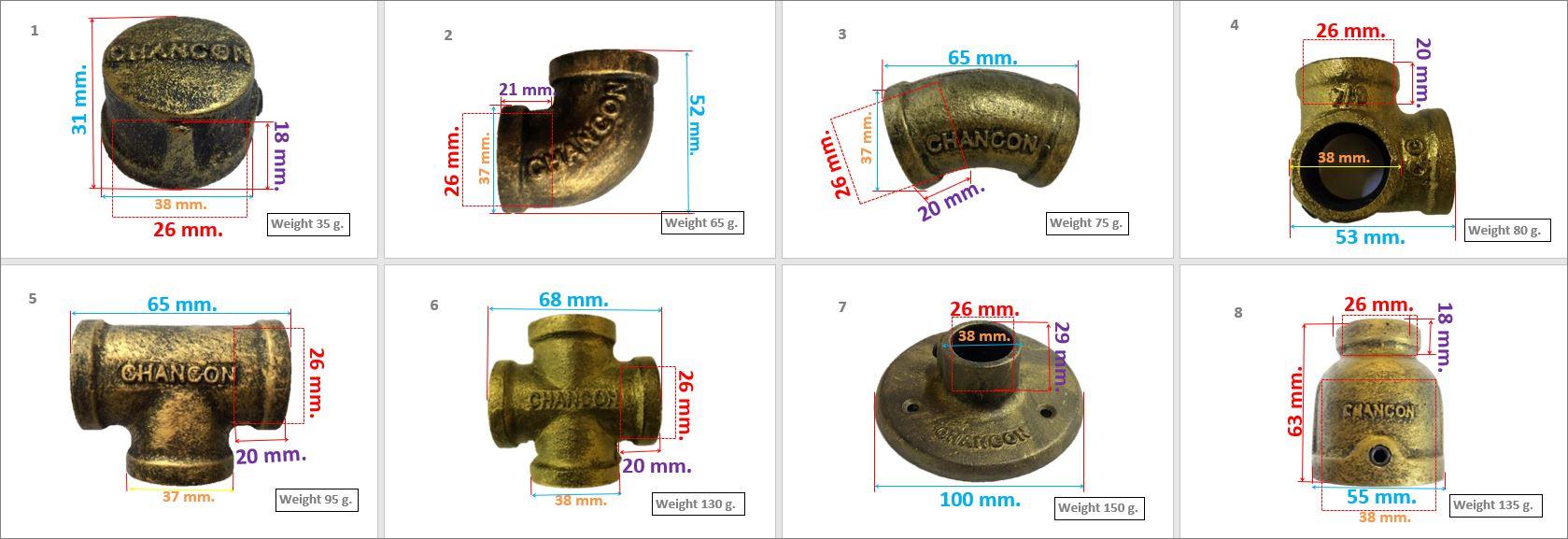 อุปกรณ์ข้อต่ออลูมิเนียม สีสนิมดำปัดทอง ไม่ต๊าปเกลียว Rustic Golden Sign Color Aluminum Pipe Fittings Connector