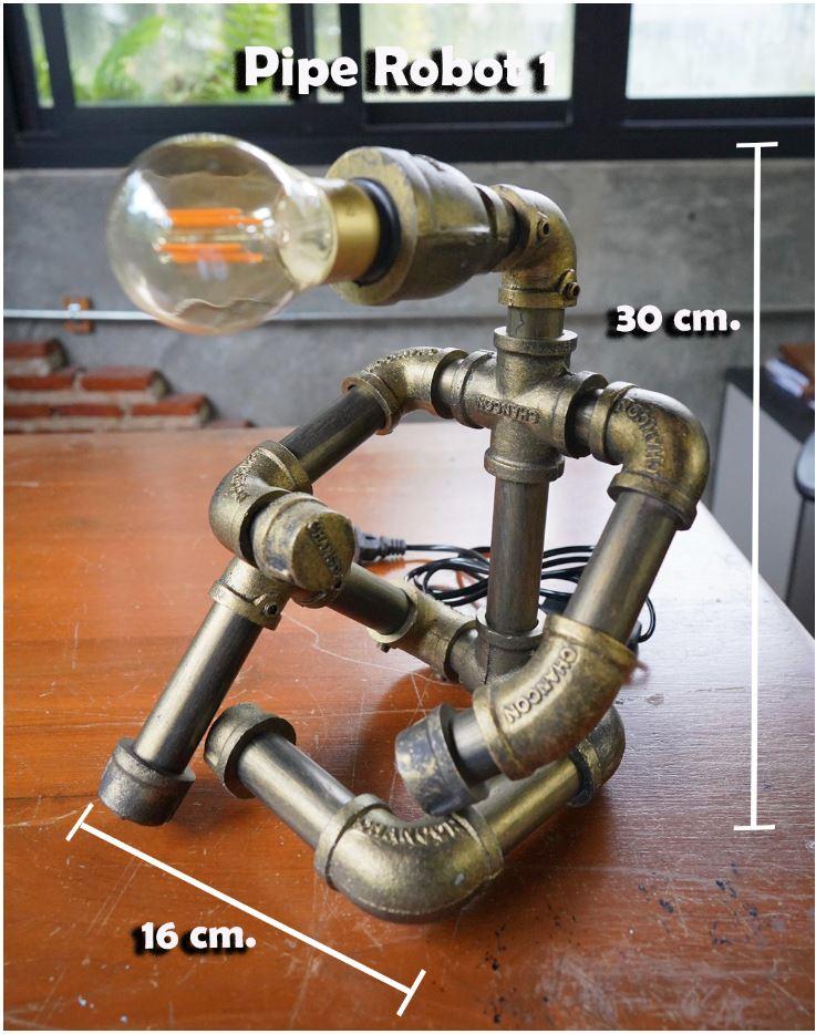 โคมไฟหุ่นยนต์ท่อเหล็กตั้งโต๊ะวางโชว์ติดผนัง ของขวัญตกแต่งบ้านร้านกาแฟ   HomeGiftSet TableLightingSconcePipeLampRobot
