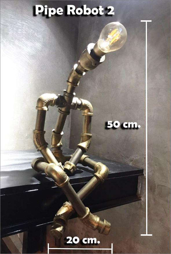 โคมไฟหุ่นยนต์ท่อเหล็กตั้งโต๊ะวางโชว์ติดผนัง ของขวัญวาเลนไทน์วันเกิดขึ้นบ้านใหม่    RustIronRobotStylePlumbingPipeTableLightingLamp