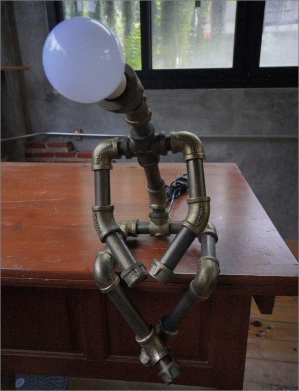 โคมไฟหุ่นยนต์ท่อเหล็กตั้งโต๊ะวางโชว์ติดผนัง ของขวัญวันเกิดขึ้นบ้านใหม่ตกแต่งร้านกาแฟ    RustIronRobotStylePlumbingPipeTableLightingLamp