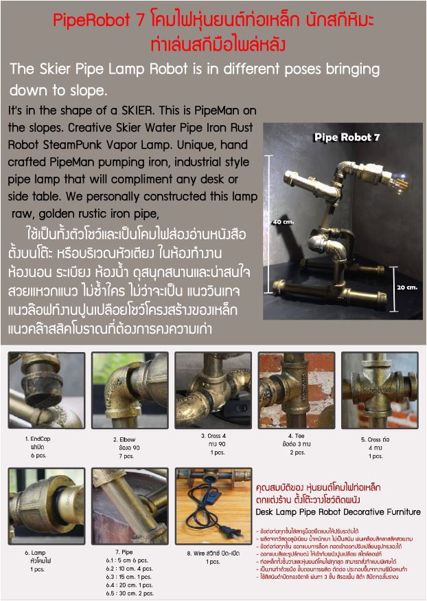 Pipe Robot Lamp โคมไฟหุ่นยนต์ท่อเหล็ก ตั้งโต๊ะวางโชว์ติดผนัง