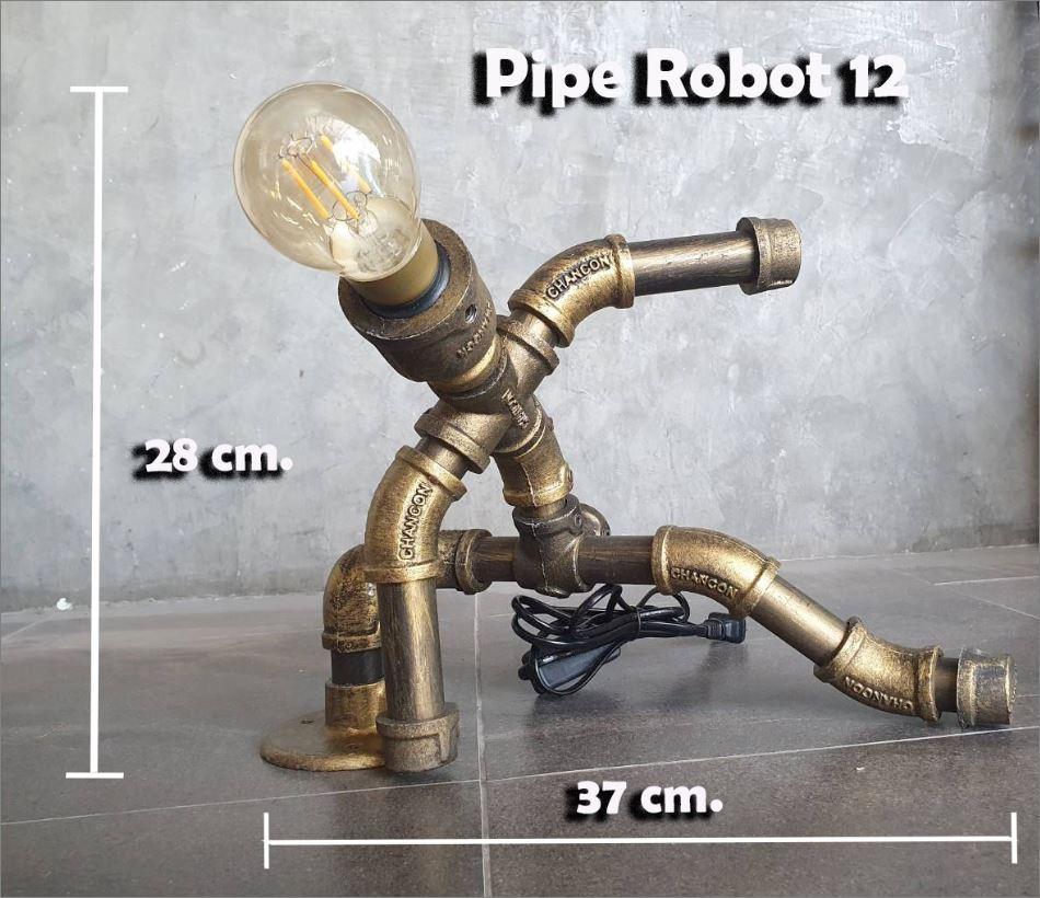 หุ่นยนต์ท่อเหล็กโคมไฟตั้งโต๊ะวางโชว์ติดผนัง ของขวัญปีใหม่ตกแต่งบ้านร้านกาแฟคอนโดวันเกิด   RusticIronSteampunkTablePipeLampRobot