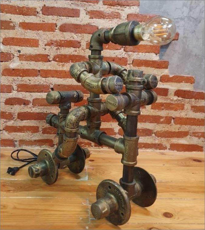 โคมไฟหุ่นยนต์ท่อเหล็กตั้งโต๊ะวางโชว์ติดผนัง ของขวัญตกแต่งบ้านร้านกาแฟคอนโดวันเกิด  RiderBikerCyclist GiftSet IronPipeLightingLampRobot
