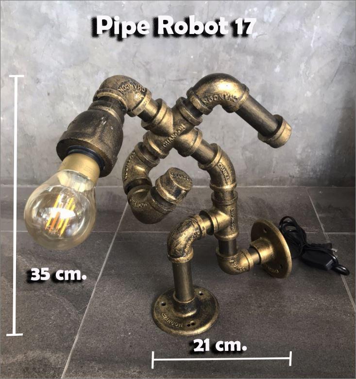 โคมไฟหุ่นยนต์ท่อเหล็กตั้งโต๊ะวางโชว์ติดผนังฝ้าเพดาน วินเทจล๊อฟท์    JockingMarathonRunner SouvenirGiftSet IronPipeLightingLampRobot