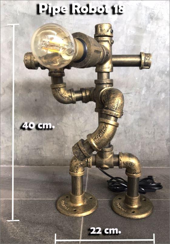 โคมไฟหุ่นยนต์ท่อเหล็กตั้งโต๊ะวางโชว์ติดผนังฝ้าเพดาน วินเทจล๊อฟท์   CuteIdeaSouvenirGiftSet IronPipeLightingLampRobot