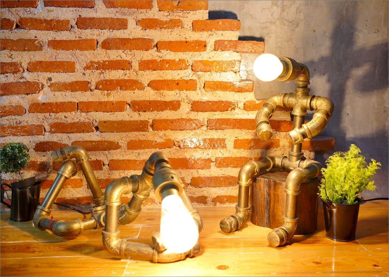 DIY Lamp Robot WaterPipe Gift Set หุ่นยนต์โคมไฟท่อเหล็กตกแต่งร้าน ตั้งโต๊ะวางโชว์ติดผนัง  ของขวัญขึ้นบ้านใหม่