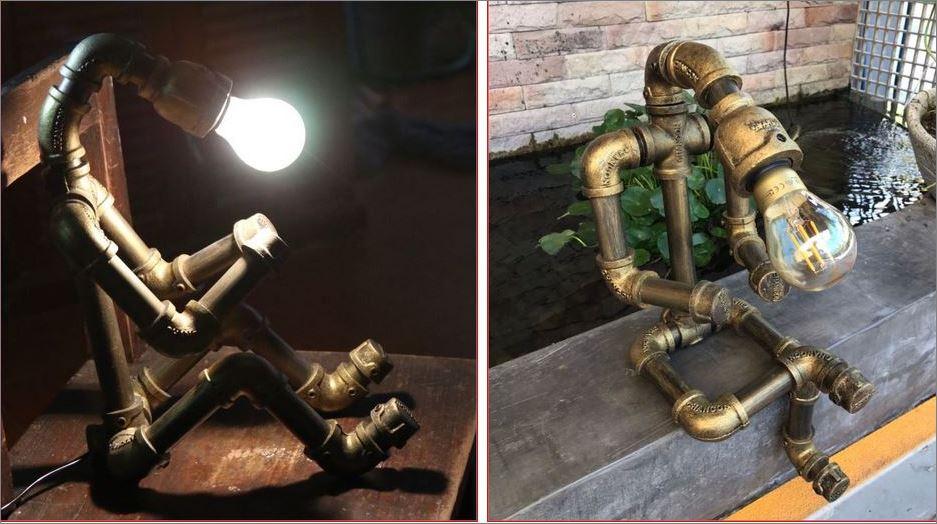 DIY Lamp Robot Industrial WaterPipe เฟอร์นิเจอร์ของใช้ตกแต่งบ้าน หุ่นยนต์โคมไฟท่อเหล็กตกแต่งร้าน ตั้งโต๊ะวางโชว์ติดผนัง